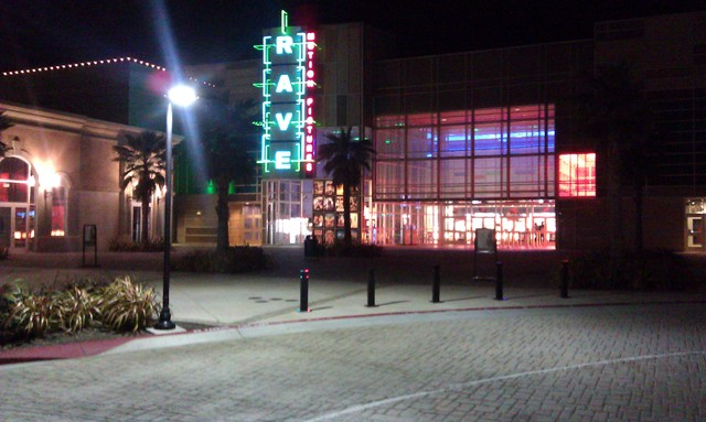 Night-time photo of the front of Rave--Brentwood 14 + IMAX