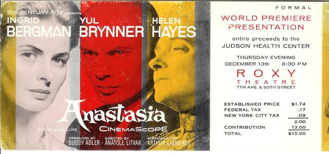 Ticket to world premiere of ANASTASIA Dec 13th, 1956