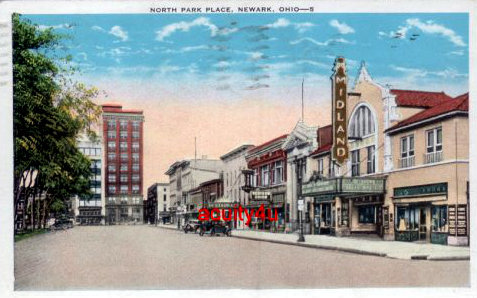 MIDLAND Theatre postcard view; Newark, Ohio.