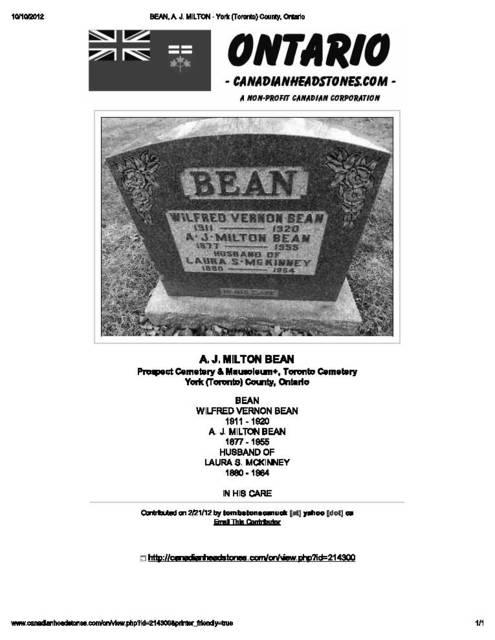 Tombstone  1st Proprietor Maple Leaf Theatre Mt Dennis Ontario 1918