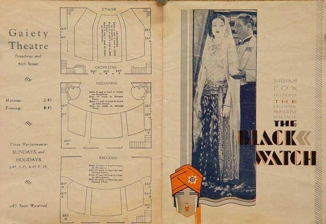 "1929 ""The Black Watch"" Theatre Program w/Floor Plan"