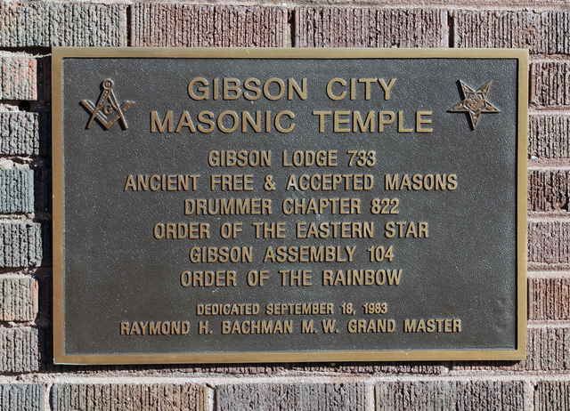 Edna Theater, Gibson City, IL - Masonic Temple plaque