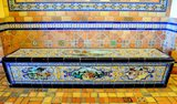 Manuel Ramos Rejano tile bench at GATEWAY Theatre, Kenosha, Wisconsin.