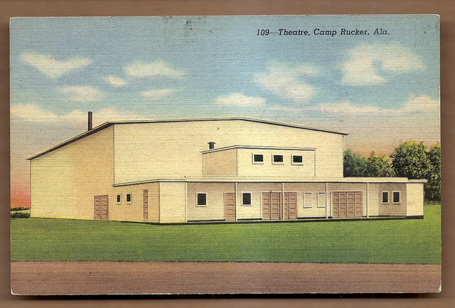 Postcard view, CAMP RUCKER Theatre; Camp Rucker, Alabama.