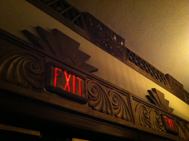 exit sign above rear entrance doors, closer view