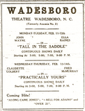 Wadesboro Theatre ad