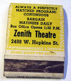 ZENITH Theatre promotional matchbook; Milwaukee, Wisconsin.