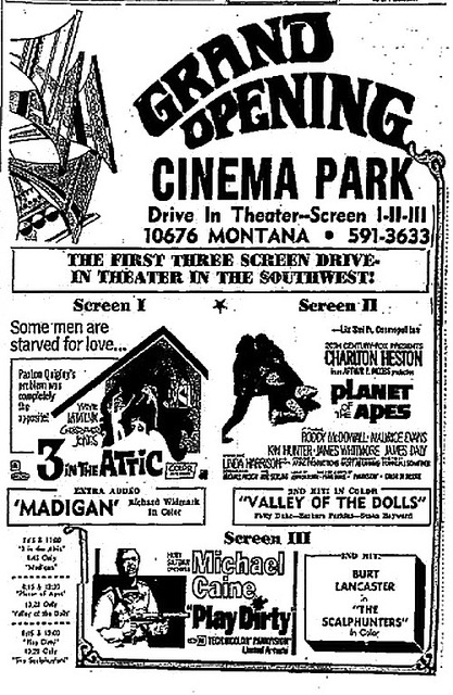 Cinema Park Drive-In Grand Opening Ad
