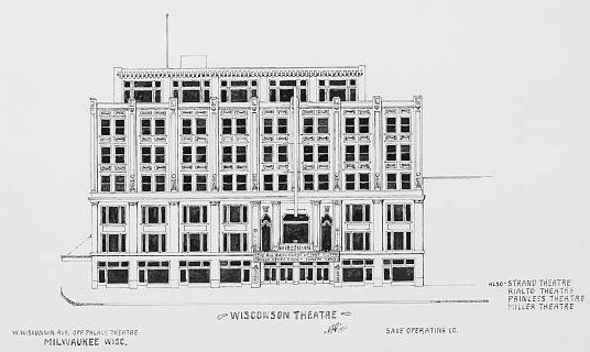 Architectural rendering, WISCONSIN Theatre; Milwaukee, Wisconsin (note spelling error).