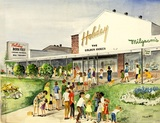 "<p>From an original watercolor by artist Annabelle Gould, this 11 x 17 print shows mothers and children in the Park Forest Plaza, in front of the Holiday Theatre in 1966, with ""Born Free"" on the marquee.</p>"