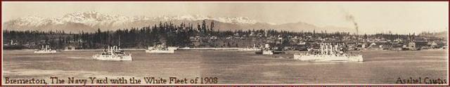 Pioneer Northwest Photographer Asahel Curtis Giant Photo Mural of Bremerton, The Navy Yard with the White