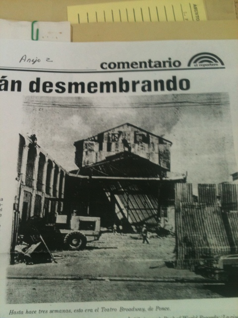 Newspaper Clipping of the Broadway after demolition