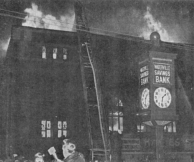 Fire at the HAINES Theatre, Waterville, Maine, 1967.
