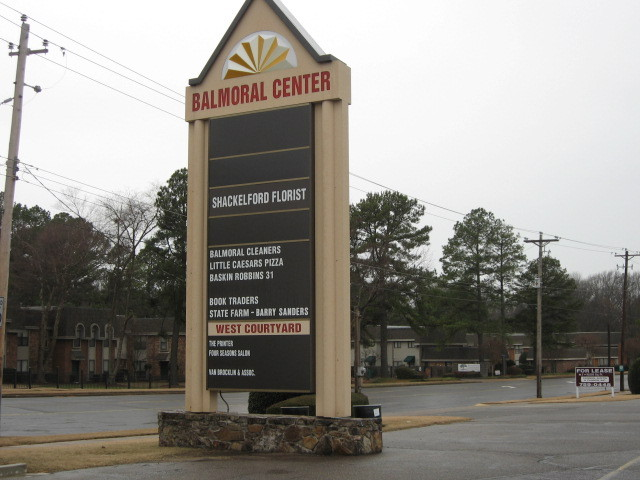 Current sign of Balmoral shopping center