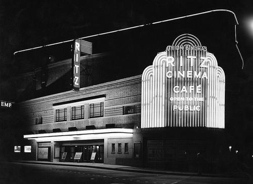 Ritz cinema Aldershot at night