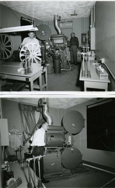 Projection room at the Falls Theatre