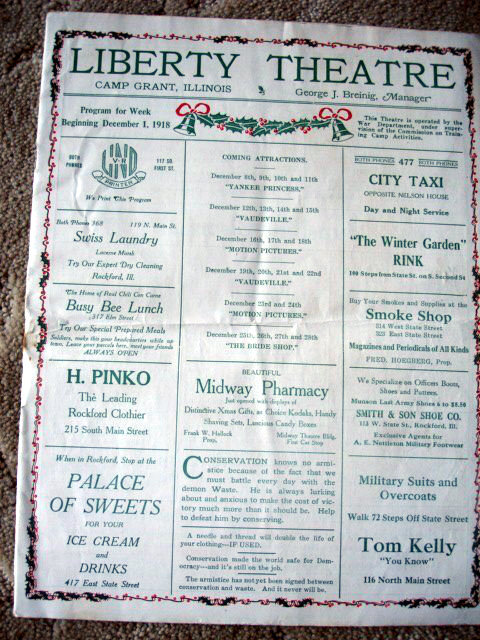 Poster, LIBERTY Theatre; Camp Grant, Illinois.