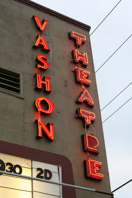 Vashon Theatre sign at twilight