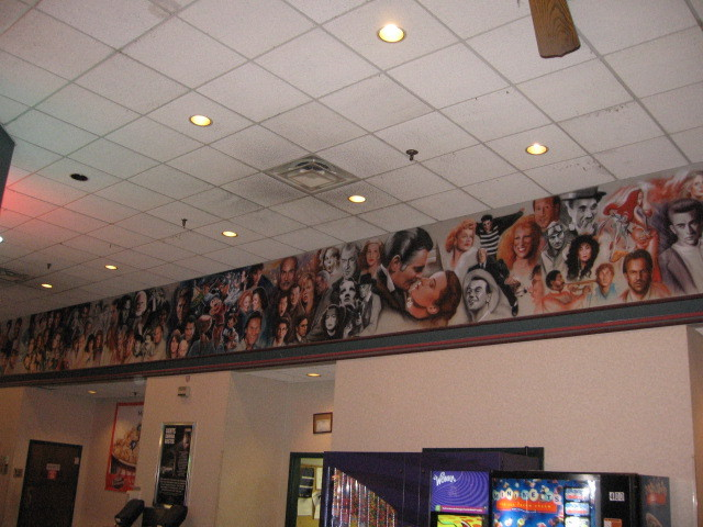 Mural in Bartlett Cinema lobby, center third.