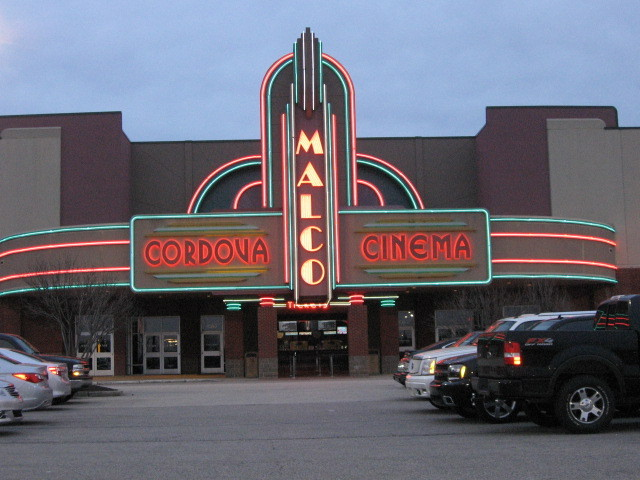 Cordova Towne Cinema outside display lit