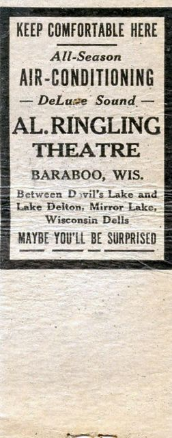 Promotional matchbook, AL. RINGLING Theatre; Baraboo, Wisconsin.