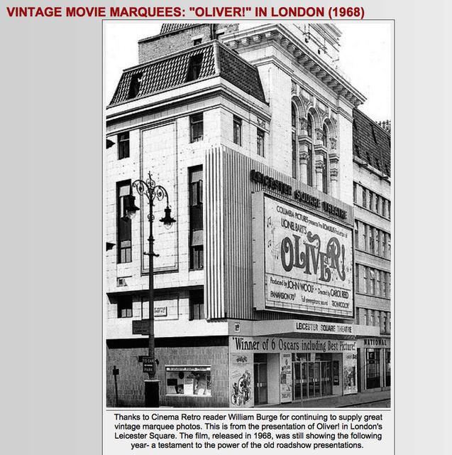 Carol Reed's OLIVER! 1968 at the ODEON WEST END