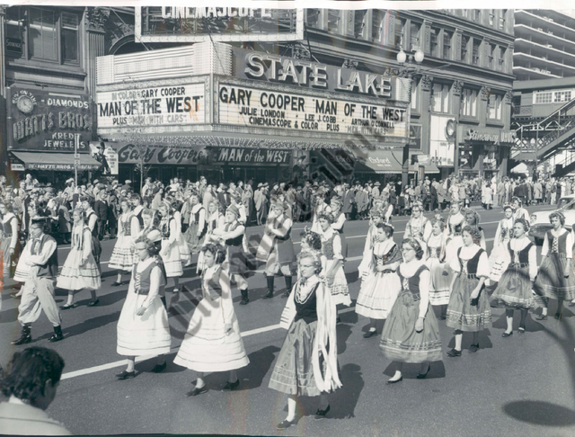 Parade in front of the State & Lake Theater 1958