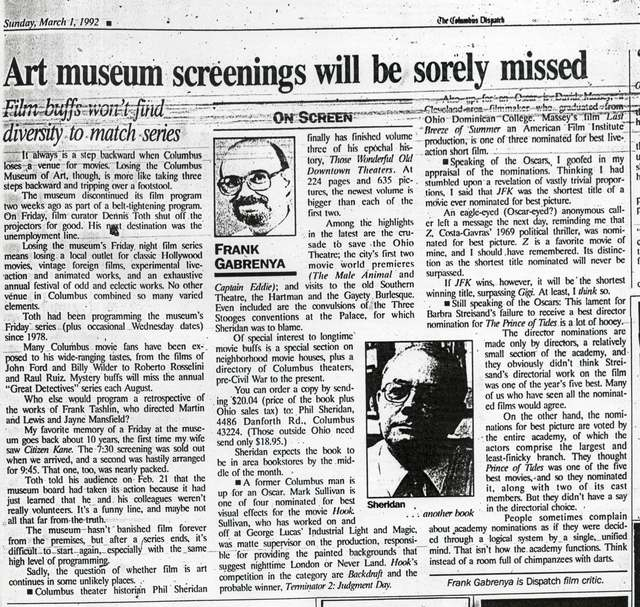 """Art nuseum screenings will be sorely missed"""