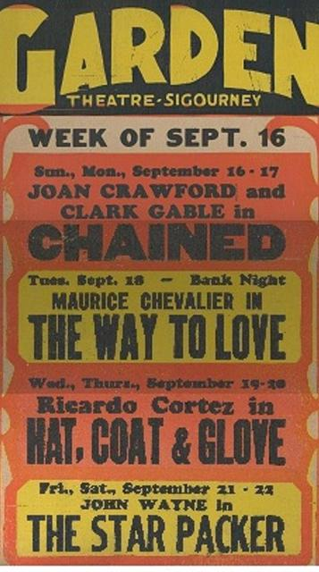 Garden Theatre Sept. 1934