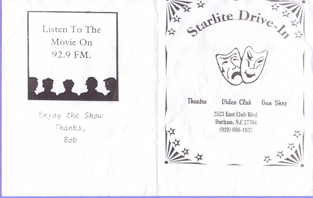 Starlite Drive-In concession menu, exterior