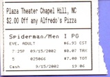 Plaza Theater 5, Chapel Hill, NC - Spider-Man/Men in Black double feature