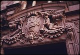 Building detail of RKO Bushwick Theater, Brooklyn NY.  1974.
