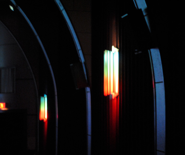 auditorium wall, colored light sconces, Indian Lake Theater