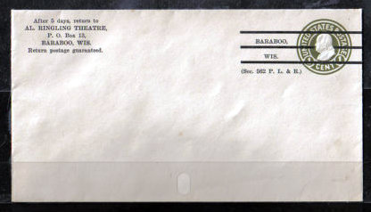 AL. RINGLING Theatre envelope; Baraboo, Wisconsin.