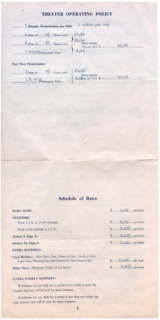 Starland Theater IATSE local 150 Projectionists Union Contract 1945 part 2
