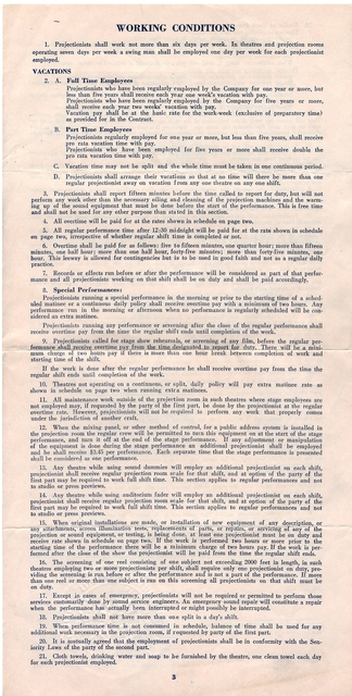 Starland Theater IATSE local 150 Projectionists Union Contract 1945
