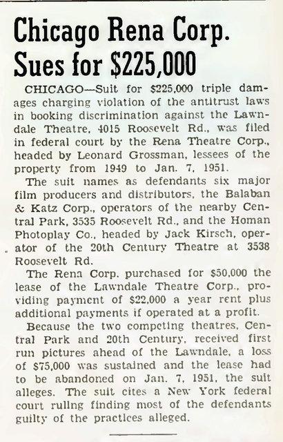 RENA (LAWNDALE) Theatre; Chicago, Illinois (1952)