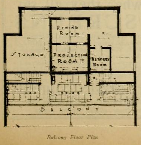 Balcony Floor Plan of the Cape Cinema, MA in 1930