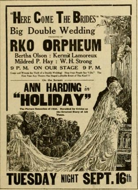 Poster from 1930 advertising 'Weddings' at the Orpheum, Sioux City IA.