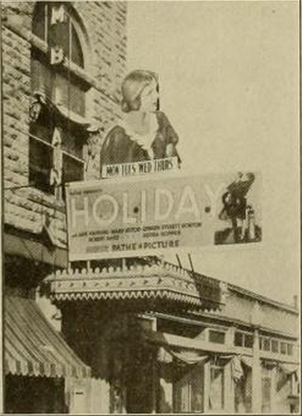 Marquee of the Columbian Theatre, Wamego, KS in 1930