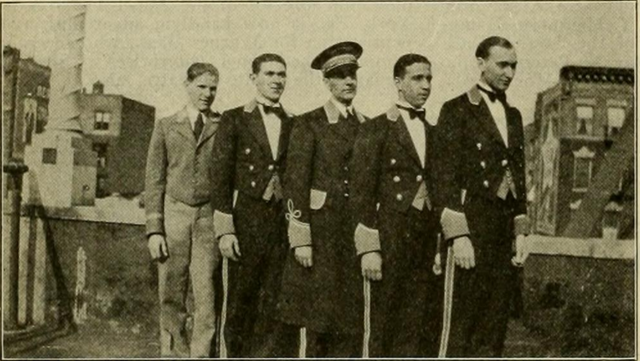The uniformed staff of the  Daly Theatre, Bronx, NY in 1930 (later the Vogue)