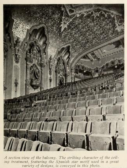 Ohio Theatre, Columbus, OH in 1928 - Section of the Balcony