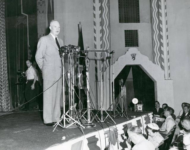 Eisenhower throwing his hat in the ring at the Plaza Theater.