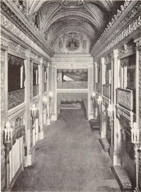 Chicago Theatre, Chicago, IL in 1926 - View of one of the spacious upstairs Lobbies