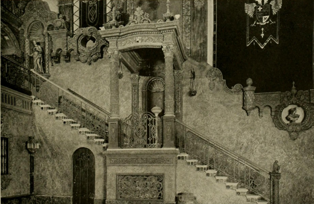 Louisville Theatre, Louisville, KY in 1928 - Detail of the Spanish satircase in the Outer Lobby