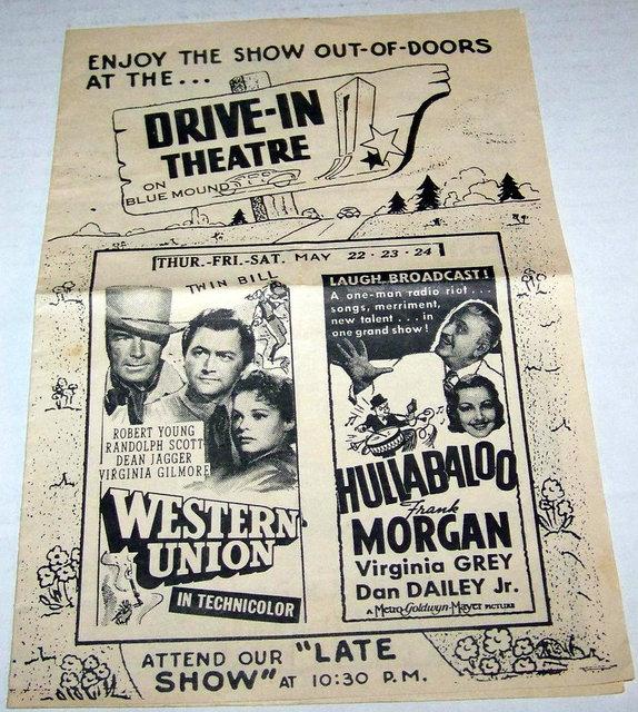 BLUE MOUND Drive-In Theatre;  Brookfield, Wisconsin.