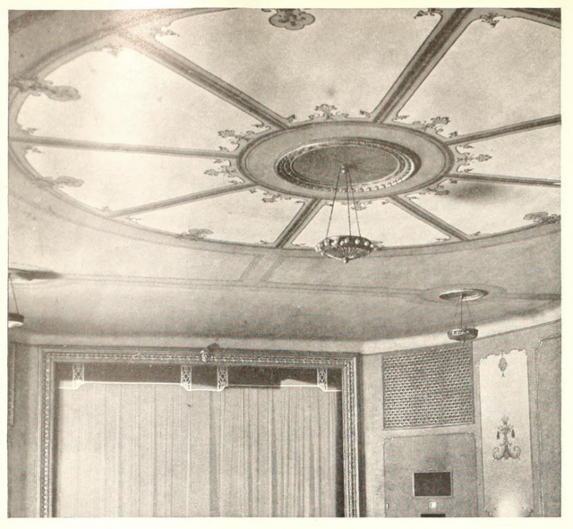 Temple Theatre, Fairport, NY in 1929 - Ceiling detail and Proscenium