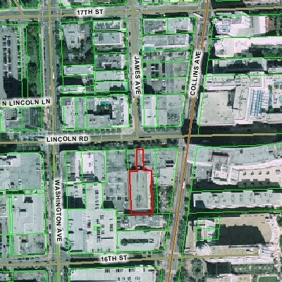 Satellite Image and Property Outline (Caribe Theatre--Miami Beach)