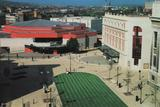 <p>Tudor Square, with the Lyceum Theatre on the right, and the Crucible Theatre centre of the photograph.</p>