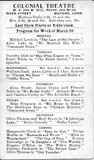 Colonial Theater schedule for the week of March 29, 1920